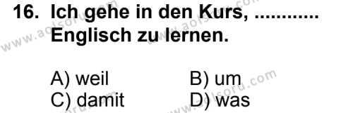 Seçmeli Yabancı Dil Almanca 4 Dersi 2013-2014 Yılı 1. Dönem Sınavı 16. Soru