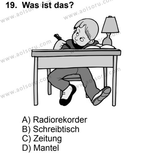 Seçmeli Yabancı Dil Almanca 4 Dersi 2013-2014 Yılı 1. Dönem Sınavı 19. Soru