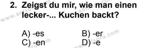 Seçmeli Yabancı Dil Almanca 4 Dersi 2013 - 2014 Yılı 2. Dönem Sınav Soruları 2. Soru