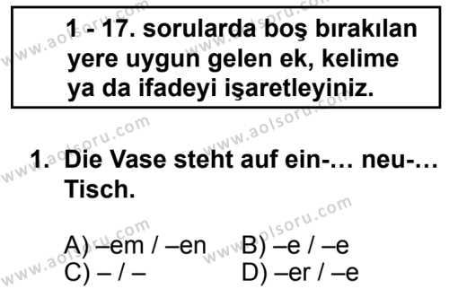 Seçmeli Yabancı Dil Almanca 4 Dersi 2013 - 2014 Yılı 3. Dönem Sınav Soruları 1. Soru