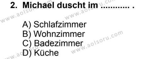 Seçmeli Yabancı Dil Almanca 4 Dersi 2014 - 2015 Yılı 1. Dönem Sınav Soruları 2. Soru