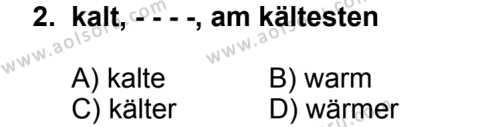 Seçmeli Yabancı Dil Almanca 4 Dersi 2014 - 2015 Yılı 2. Dönem Sınav Soruları 2. Soru
