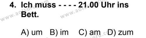 Seçmeli Yabancı Dil Almanca 4 Dersi 2014 - 2015 Yılı 2. Dönem Sınav Soruları 4. Soru