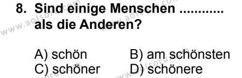 Seçmeli Yabancı Dil Almanca 5 Dersi 2011-2012 Yılı 1. Dönem Sınavı 8. Soru