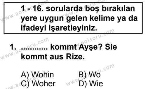 Seçmeli Yabancı Dil Almanca 5 Dersi 2011 - 2012 Yılı Ek Sınav Soruları 1. Soru