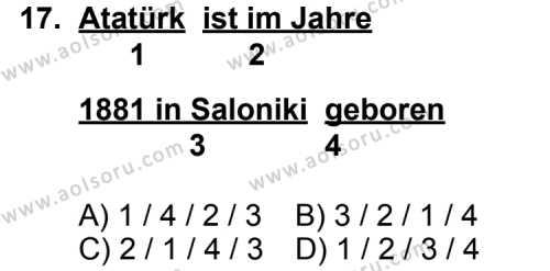 Seçmeli Yabancı Dil Almanca 5 Dersi 2012-2013 Yılı 1. Dönem Sınavı 17. Soru