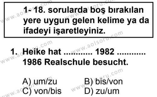 Seçmeli Yabancı Dil Almanca 5 Dersi 2013-2014 Yılı 1. Dönem Sınavı 1. Soru
