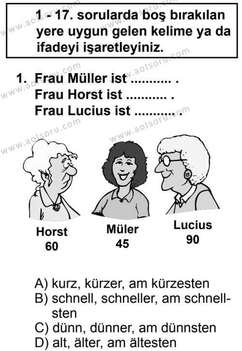 Seçmeli Yabancı Dil Almanca 5 Dersi 2013 - 2014 Yılı 2. Dönem Sınav Soruları 1. Soru