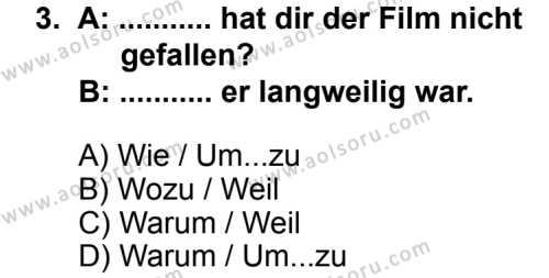 Seçmeli Yabancı Dil Almanca 5 Dersi 2013 - 2014 Yılı 2. Dönem Sınav Soruları 3. Soru