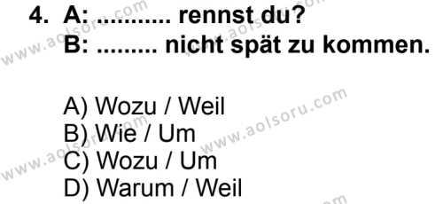 Seçmeli Yabancı Dil Almanca 5 Dersi 2013 - 2014 Yılı 2. Dönem Sınav Soruları 4. Soru