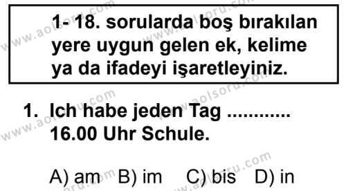 Seçmeli Yabancı Dil Almanca 5 Dersi 2014 - 2015 Yılı 1. Dönem Sınav Soruları 1. Soru