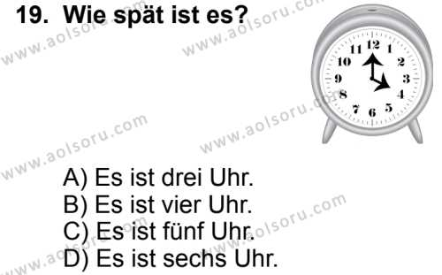 Seçmeli Yabancı Dil Almanca 5 Dersi 2014-2015 Yılı 1. Dönem Sınavı 19. Soru