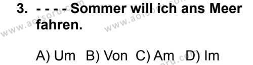 Seçmeli Yabancı Dil Almanca 5 Dersi 2014 - 2015 Yılı 3. Dönem Sınav Soruları 3. Soru