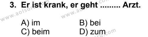 Seçmeli Yabancı Dil Almanca 6 Dersi 2011-2012 Yılı 1. Dönem Sınavı 3. Soru