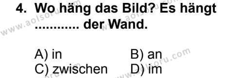Seçmeli Yabancı Dil Almanca 6 Dersi 2011 - 2012 Yılı Ek Sınav Soruları 4. Soru