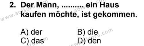 Seçmeli Yabancı Dil Almanca 6 Dersi 2012 - 2013 Yılı 1. Dönem Sınav Soruları 2. Soru
