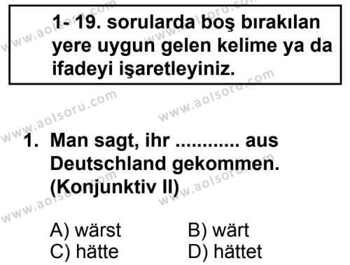 Seçmeli Yabancı Dil Almanca 6 Dersi 2013 - 2014 Yılı 1. Dönem Sınav Soruları 1. Soru