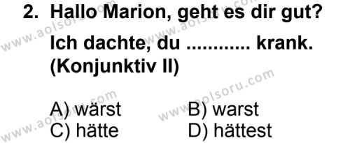 Seçmeli Yabancı Dil Almanca 6 Dersi 2013 - 2014 Yılı 1. Dönem Sınav Soruları 2. Soru