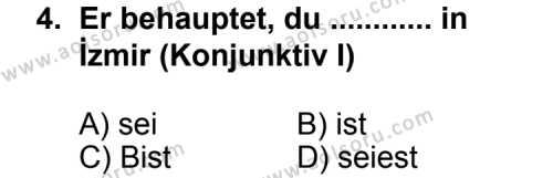 Seçmeli Yabancı Dil Almanca 6 Dersi 2013 - 2014 Yılı 1. Dönem Sınav Soruları 4. Soru