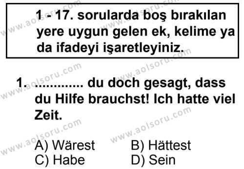 Seçmeli Yabancı Dil Almanca 6 Dersi 2013 - 2014 Yılı 2. Dönem Sınav Soruları 1. Soru