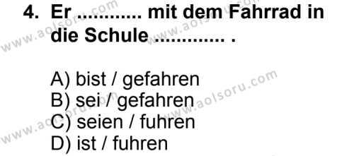 Seçmeli Yabancı Dil Almanca 6 Dersi 2013 - 2014 Yılı 3. Dönem Sınav Soruları 4. Soru