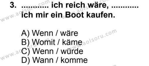 Seçmeli Yabancı Dil Almanca 6 Dersi 2014 - 2015 Yılı 1. Dönem Sınav Soruları 3. Soru