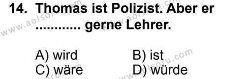 Seçmeli Yabancı Dil Almanca 6 Dersi 2014-2015 Yılı 1. Dönem Sınavı 14. Soru
