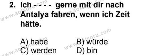 Seçmeli Yabancı Dil Almanca 6 Dersi 2014 - 2015 Yılı 2. Dönem Sınav Soruları 2. Soru