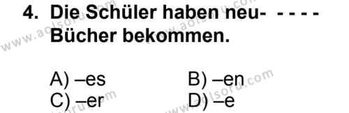 Seçmeli Yabancı Dil Almanca 6 Dersi 2014 - 2015 Yılı 2. Dönem Sınav Soruları 4. Soru