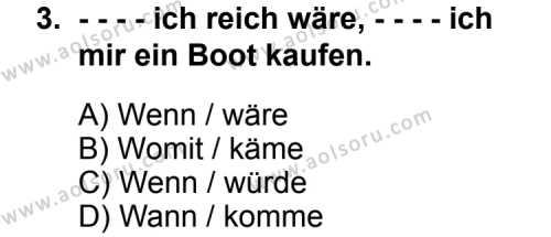 Seçmeli Yabancı Dil Almanca 6 Dersi 2014 - 2015 Yılı Ek Sınav Soruları 3. Soru