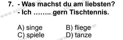 Seçmeli Yabancı Dil Almanca 7 Dersi 2012-2013 Yılı 1. Dönem Sınavı 7. Soru