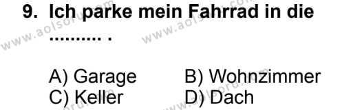 Seçmeli Yabancı Dil Almanca 7 Dersi 2012-2013 Yılı 1. Dönem Sınavı 9. Soru