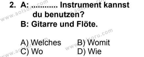 Seçmeli Yabancı Dil Almanca 7 Dersi 2013 - 2014 Yılı 1. Dönem Sınav Soruları 2. Soru