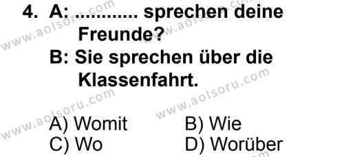 Seçmeli Yabancı Dil Almanca 7 Dersi 2013 - 2014 Yılı 1. Dönem Sınav Soruları 4. Soru
