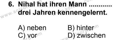 Seçmeli Yabancı Dil Almanca 7 Dersi 2013-2014 Yılı 1. Dönem Sınavı 6. Soru
