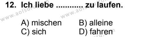 Seçmeli Yabancı Dil Almanca 7 Dersi 2013-2014 Yılı 1. Dönem Sınavı 12. Soru