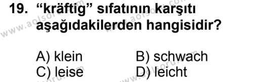 Seçmeli Yabancı Dil Almanca 7 Dersi 2013-2014 Yılı 1. Dönem Sınavı 19. Soru