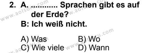 Seçmeli Yabancı Dil Almanca 7 Dersi 2013 - 2014 Yılı 2. Dönem Sınav Soruları 2. Soru