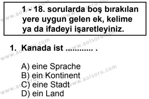 Seçmeli Yabancı Dil Almanca 7 Dersi 2013 - 2014 Yılı 3. Dönem Sınav Soruları 1. Soru