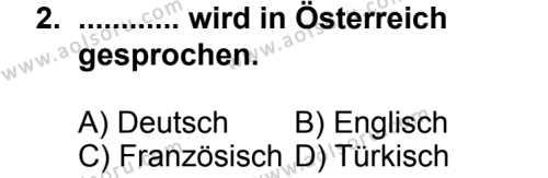 Seçmeli Yabancı Dil Almanca 7 Dersi 2014 - 2015 Yılı 1. Dönem Sınav Soruları 2. Soru