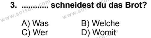 Seçmeli Yabancı Dil Almanca 7 Dersi 2014 - 2015 Yılı 1. Dönem Sınav Soruları 3. Soru