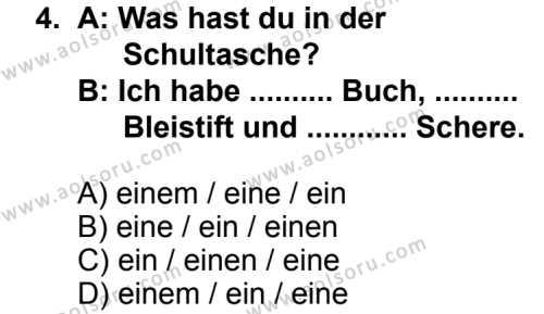 Seçmeli Yabancı Dil Almanca 7 Dersi 2014 - 2015 Yılı 1. Dönem Sınav Soruları 4. Soru
