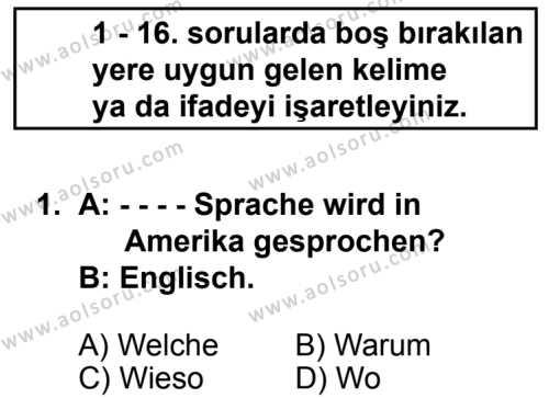 Seçmeli Yabancı Dil Almanca 7 Dersi 2014 - 2015 Yılı 2. Dönem Sınav Soruları 1. Soru
