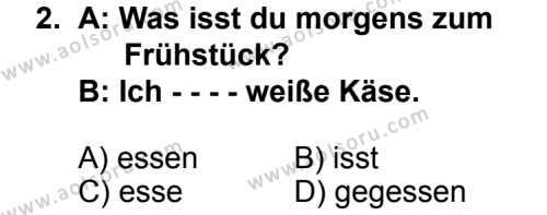 Seçmeli Yabancı Dil Almanca 7 Dersi 2014 - 2015 Yılı 2. Dönem Sınav Soruları 2. Soru