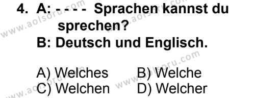 Seçmeli Yabancı Dil Almanca 7 Dersi 2014 - 2015 Yılı Ek Sınav Soruları 4. Soru