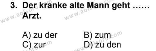 Seçmeli Yabancı Dil Almanca 8 Dersi 2011 - 2012 Yılı Ek Sınav Soruları 3. Soru