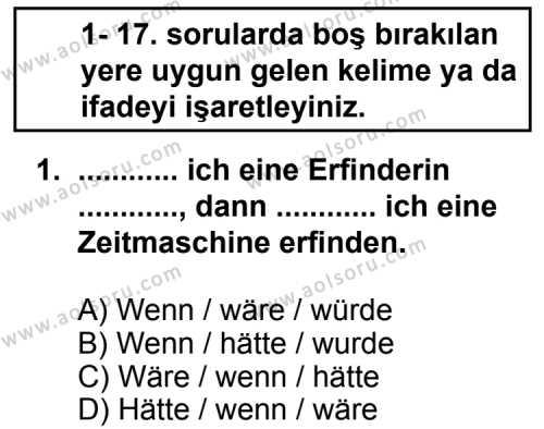 Seçmeli Yabancı Dil Almanca 8 Dersi 2013 - 2014 Yılı 1. Dönem Sınav Soruları 1. Soru