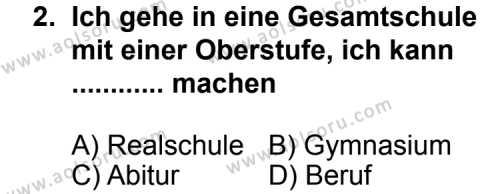 Seçmeli Yabancı Dil Almanca 8 Dersi 2013 - 2014 Yılı 1. Dönem Sınav Soruları 2. Soru