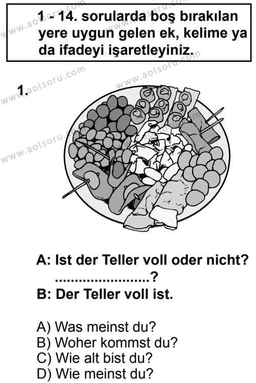 Seçmeli Yabancı Dil Almanca 8 Dersi 2013 - 2014 Yılı 2. Dönem Sınav Soruları 1. Soru