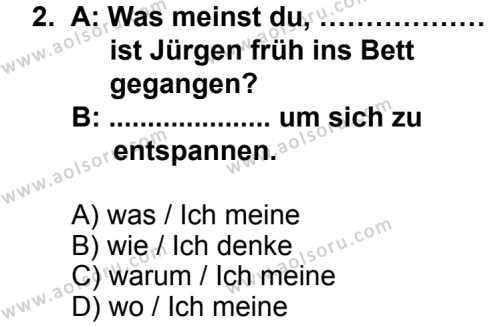 Seçmeli Yabancı Dil Almanca 8 Dersi 2013 - 2014 Yılı 2. Dönem Sınav Soruları 2. Soru